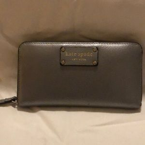 Kate Spade silver wallet with gold accents